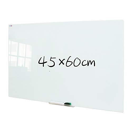 XIWODE Whiteboard aus Sicherheitsglas, Whiteboard, beschreibbare Whiteboard, Pinnwand Tafel mit Sicherheitsglas, 60x45cm