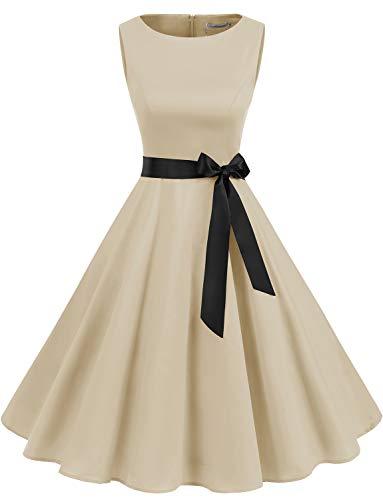 Abito da Cocktail Vintage da Donna Vintage Anni '50 Swing A Line Rockabilly Dress Champagne L