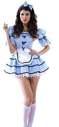 Fancy Me Damen Sexy 3-TLG. Sicht Glas Alice im Wunderland Halloween Kostüm Kleid Outfit - Blau, Blau, 8-10