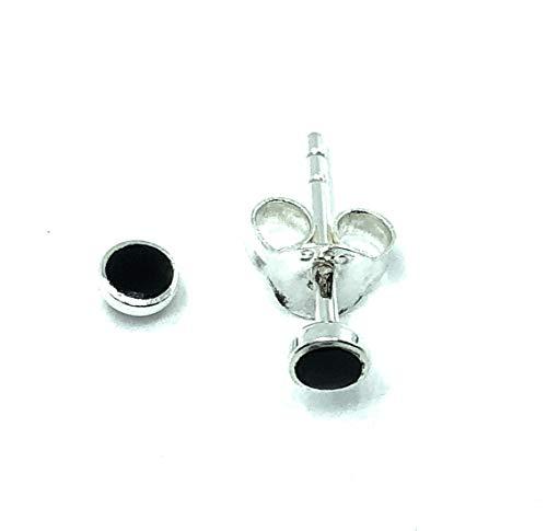 Pendientes de tuerca de plata de ley 925, ónix negro, 4 mm de diámetro