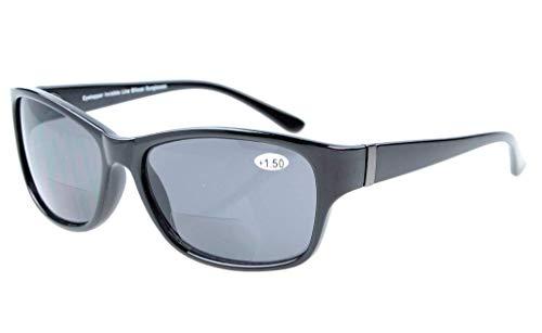 Eyekepper Bi-Focal Sonne Leser modische Bifokale Sonnenbrillen Schwarz Rahmen/Grau Linsen+2.50