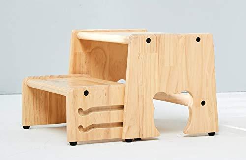 Tritthocker, 2 Stufen, klappbar, 100% Massivholz, Natur, Motiv: Bär