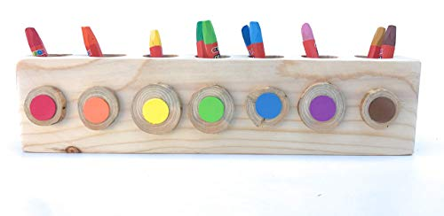 Montessori wood pencil holder, color sorting, practical life, toddler gift, adult coloring pencil holder, wood desk organizer