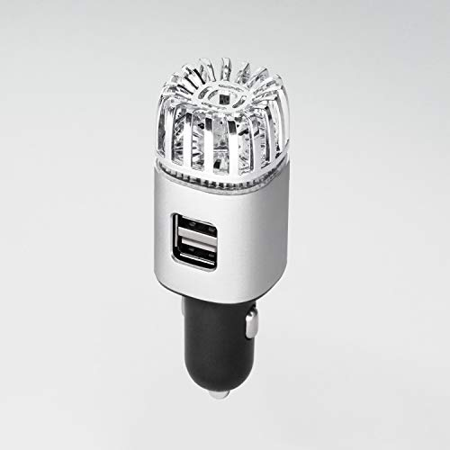 Miaoxiu Car Air Purifier Ionizer - with USB Car Charger 2-Port,Removes Smoke, Pet and Food Odor, Ionic Ozone,Silver