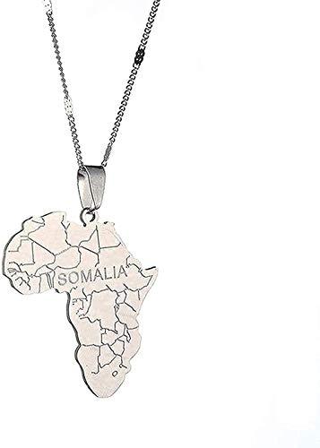 ZHIFUBA Co.,Ltd Collar de Moda Collar de Mapa de África de Acero Inoxidable con Collares Pendientes de Somalia Joyería de Mapa Africano de Color Plateado