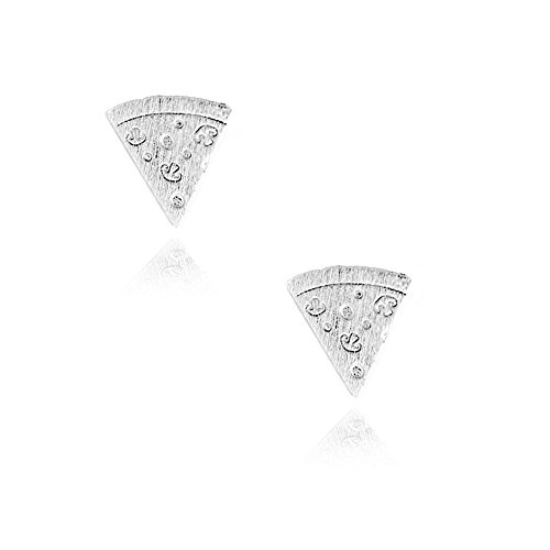 Joji Boutique Mini Silver Pizza Slice Post Earrings