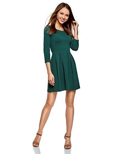 oodji Ultra Damen Tailliertes Kleid mit Ausgestelltem Rock, Grün, M