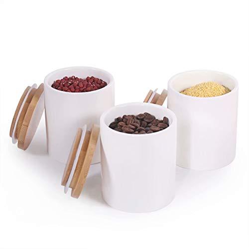 77L Keramik Vorratsdosen, (3er-Set) Aufbewahrungsdosen aus Keramik mit Luftdichtem Bambusdeckel, 300 ML(10.13 FL OZ) Weißer Keramik Aufbewahrungsdosen aus Zum Servieren Von Tee, Kaffee,Zucker und Mehr