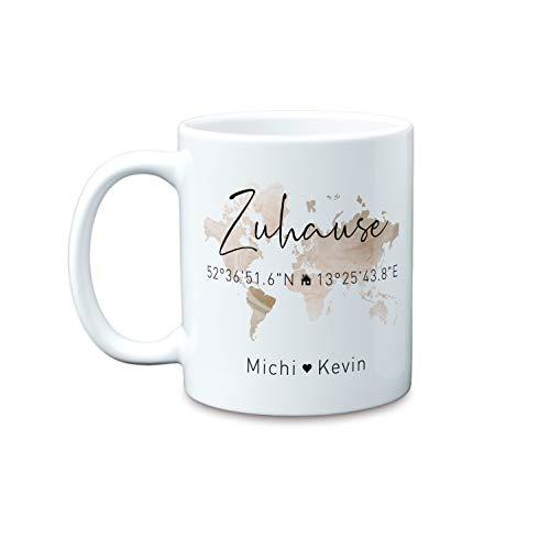 Zuhause Koordinaten große personalisierte Kaffee-Tasse mit Namen als Geschenk-Idee zum Einzug als Einweihungsgeschenk zum Richtfest Hausbau Umzug (Bronze)