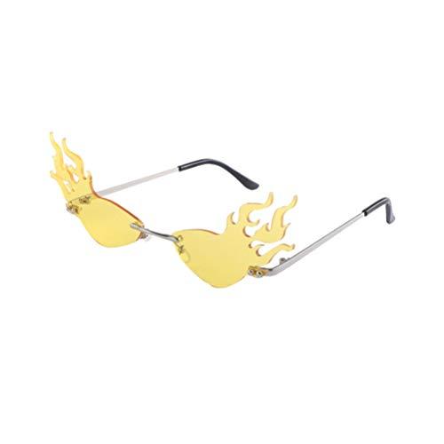 Tomaibaby Gafas de Sol de Llama de Moda Gafas con Forma de Fuego Gafas de Fiesta Accesorio de Foto Divertido (Lente Amarilla)