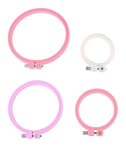 LIXBD Aros de bordado de plástico multicolor para punto de cruz, círculo...