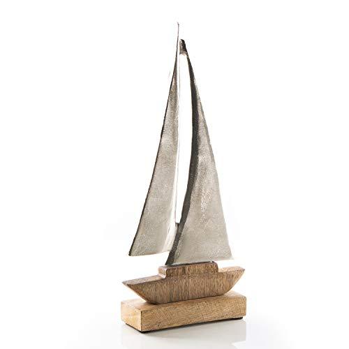 Logbuch-Verlag Barco decorativo grande para colocar de pie, 30 cm, de madera y metal, figura decorativa de velero, decoración marítima para cuarto de baño ✅