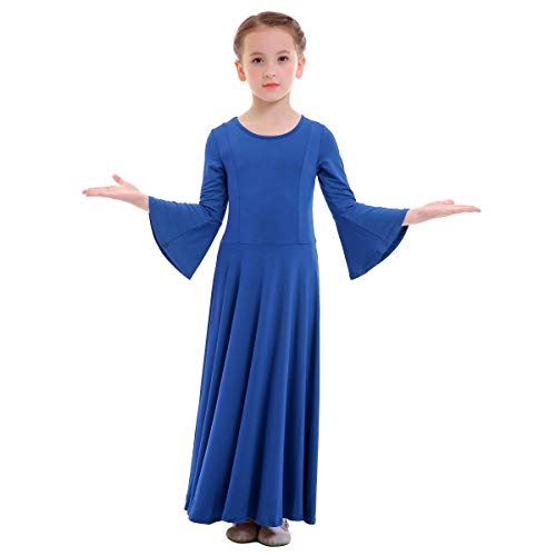 OBEEII Niñas Vestido Liturgico Danza Maillot Leotardo Gimnasia Disfraz de Baile Clásica Combinación para Danza Iglesia Ceremonia Casual 003 Azul Real 5-6 Años