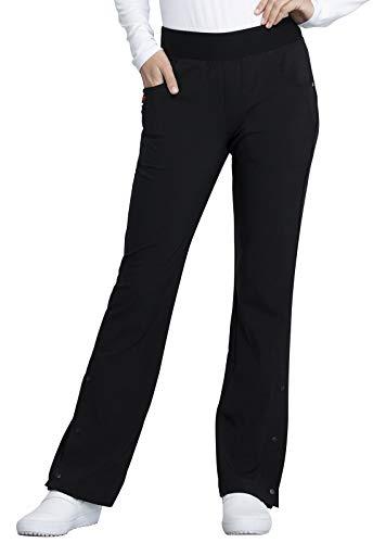 CHEROKEE Women's Workwear Elastic Waist Cargo Scrubs Pant, Black, Small Petite