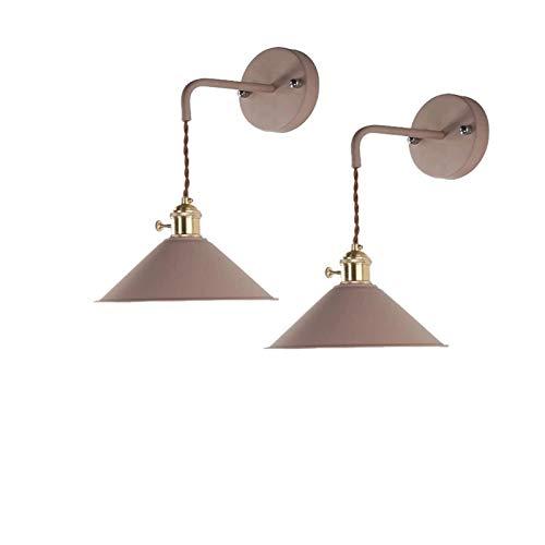 Yuanfang NUE Sconces de la luz de la Pared Conjunto de Dos batería LED Luz Caliente Control Remoto Luz Interior Lámpara de Pared marrón Shades para la decoración del hogar CN (Color : Warm Light)