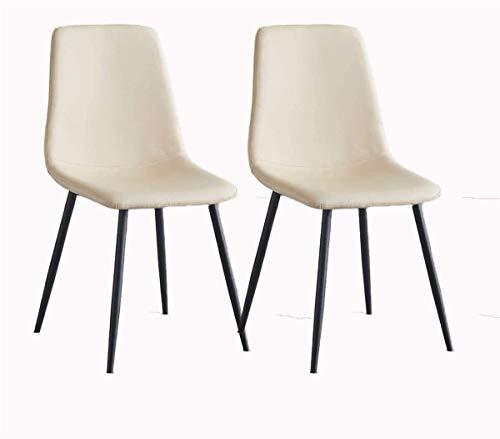 ADGEAAB Juego de 2 sillas de comedor con patas de metal y respaldo de piel sintética, resistentes al agua, para salón, dormitorio, cocina, comedor, sala de reuniones (color blanco crema)