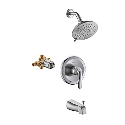 APPASO Shower Faucet Set Matte Black with Valve, Shower and Tub Valve Kit with 5-Function Spray Head, Shower system, Single Handle Bathroom Rain Shower Trim Kit Wall Mounted Rainfall Shower Combo APT124BN
