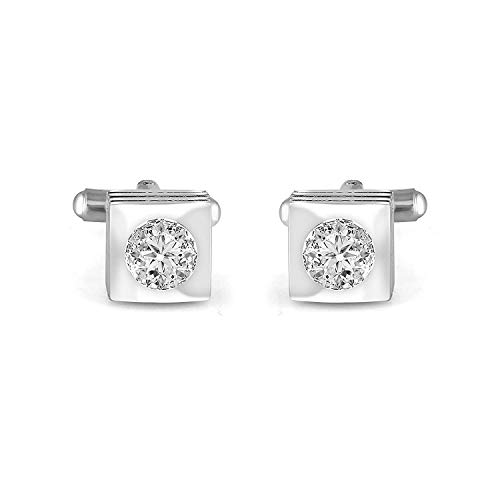 Wedding jewel White Color Round Cut Cubic Zircon with 925 Sterling Silver Cuff-links Valentine Gift