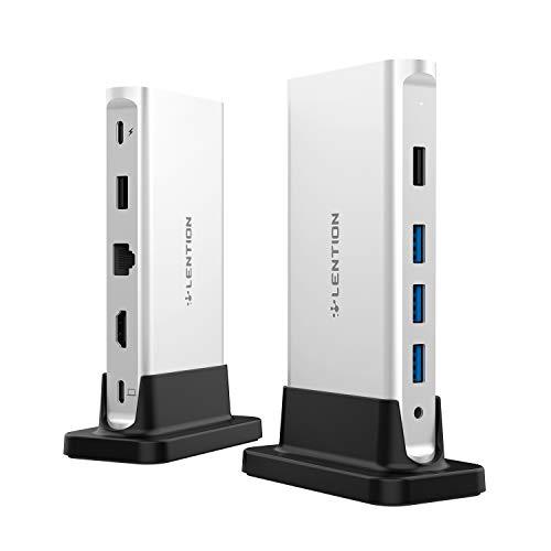 LENTION USB C ハブ CB-D53 縦置きドッキングステーション USB Type C 4K HDMI 5つUSBポート USB3.0 ギガビット有線LAN Power Delivery対応 最大100Wを接続可能 MacBook Pro 13 (2016-2020)、MacBook Pro 15 (2016-2019)、MacBook Pro 16 (2019)、MacBook Air (2018-2020)、New iMac、MacBook 12、Surface Pro 7 / Go、Chromebookなどのノートパソコン、タブレットPC対応 (シルバー)