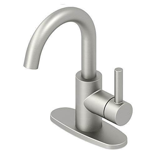 Jacuzzi Duncan Brushed Nickel Pvd 1-Handle 4-in Centerset WaterSense Bathroom Sink Faucet with Drain