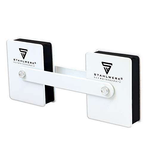 STAHLWERK 360 Grad Magnetischer Schweißwinkel Magnetwinkel Schweißmagnet Winkelmagnet, Haftkraft jeweils 50 lbs / 22,6 kg, weiß