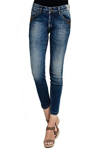 Zhrill Damen Mom Jeans 7/8 Cropped 5 Pocket Vintage Slim Fit Anita, Farbe:W7125 - Blue, Größe:W26 / L26