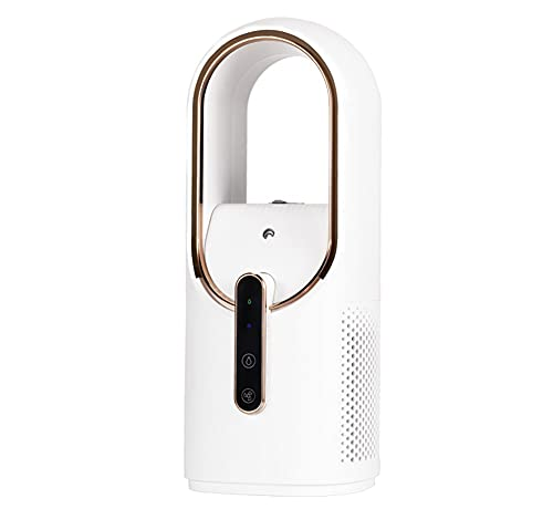 Ventilador sin sentido del escritorio, ventilador de mesa pequeña con 3 velocidades de enfriamiento y función de humidificación, control táctil recargable USB Ventilador personal, ventilador elegante