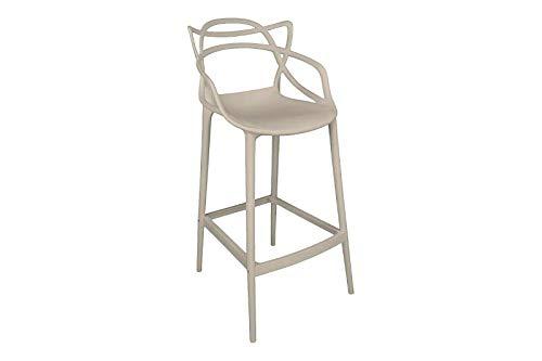 Set 2 sgabelli da bar per cucina, zona living, soggiorno in polipropilene alti con schienale intecciato e braccioli - Marika (Tortora)