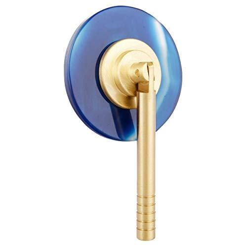 mookaitedecor Set von 2 Gebohrten Blau Achat Slice Drawer Cabinet Knob mit 8,4 cm zylindrischer Griff, Dekoration Möbel Kommode Kleiderschrank Schrank Stoßgriff