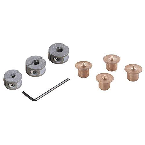 Wolfcraft 2755000 2755000-3 topes de Profundidad para Brocas diam. 6, 8, 10 mm, Set de 3 Piezas & 2912000 - 4 marcadores de madera para espigar Ø 8 mm