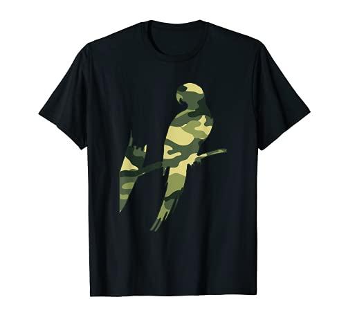 Militar Parrot Camo Hombres Print US Parrakeet Veteran Regalo Camiseta