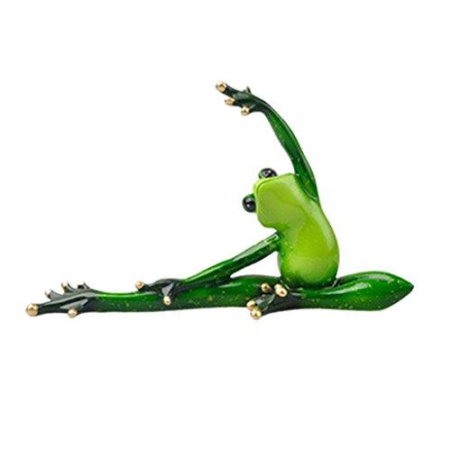 Fenteer Creative 3D Yoga Frog Figurine Decoration Ornament Statue Home Garden Decor, Fish Tank Terrarium Ornament - a, as described
