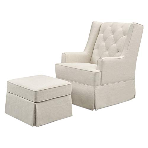 Million Dollar Baby Classic Sadie Swivel Glider with Storage Ottoman in White Linen, Greenguard Gold Certified