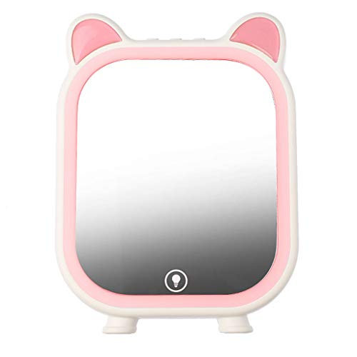 YYF Tragen LED Kosmetikspiegel Bluetooth Lautsprecher Kosmetikspiegel Beleuchteter Desktop-LED-Lichtaufbereitungsfülllicht-Desktop-Spiegel Einfach (Color : Pink)