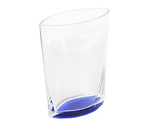 Vase en Verre à Pied Bleu Haut 20,5 Cm Large 16,5 X 8,5 Cm