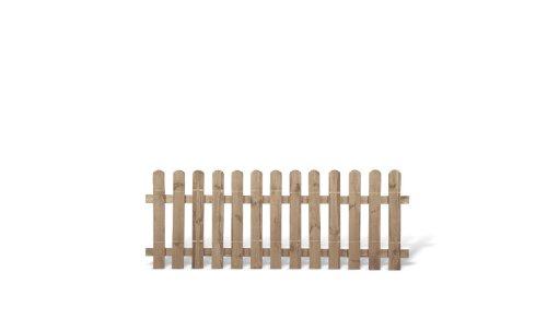 MEIN GARTEN VERSAND Klassische Vorgartenzäune + Friesenzäune günstig Maß 200 x 80 cm (Breite x Höhe) aus Kiefer/Fichte Holz, druckimprägniert + genagelt