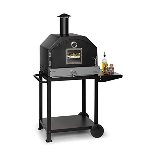 Klarstein Pizzaiolo Pro - Pizza Gas Grill, Grill Oven, Outdoor: Pizza Gas Grill, Side Table, 38 x 36 cm Pizza Stone Made of Chamotte, 2-Part 46 x 42 cm Stainless Steel Grill Grate, Sheet Steel, Black