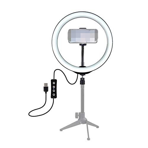 Selfie Anillo de Luz 10 Pulgadas 3200K-6500K Dimmable LED Video Ring Light con Clip de Teléfono para Selfie Live Streaming para cualquier teléfono celular Smartphone