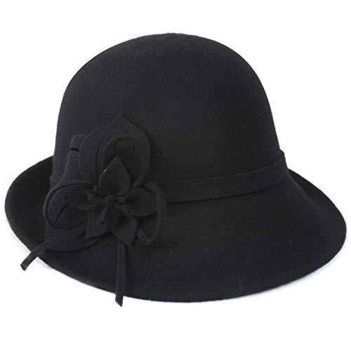Coucoland Cloche Bucket hoed dames wolvilt retro 1920s hoed dames vilten hoed bloemen kerkk meloen hoed Fedora klassieke bowler-hoed