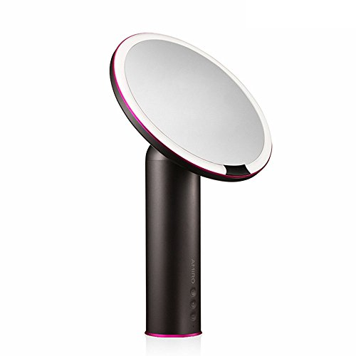 Amiro Lighted Makeup Mirror with Natural Daylight LED Lights, Smart Motion Sensor, Adjustable Brightness, Rechargeable and Cordless, High Definition Countertop Vanity Mirror, Black