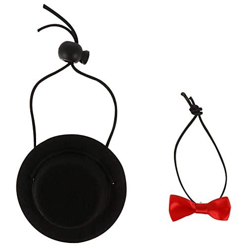 Conjunto de 2 peças de chapéu de hamster e gravata borboleta, chapéu de porquinho-da-índia com gravata borboleta, coleira de cachorro pequena gravata borboleta para animal de estimação divertida fantasia para lagarto coelho ouriço preto por M I A (cor: preto, tamanho: 9 x 9 x 3,5 cm)