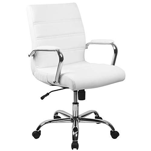 Flash Furniture Mid-Back White LeatherSoft Executive Swivel Office Chair with Chrome Base and Arms