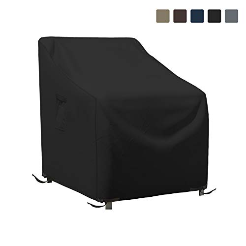 Patio Chair Cover 12 Oz Waterproof - 100% UV & Weather Resistant 1000 D PVC Coated Stackable Chair Covers with Air Pockets and Drawstring for Sung fit (36W x 37D x 36H, Black)