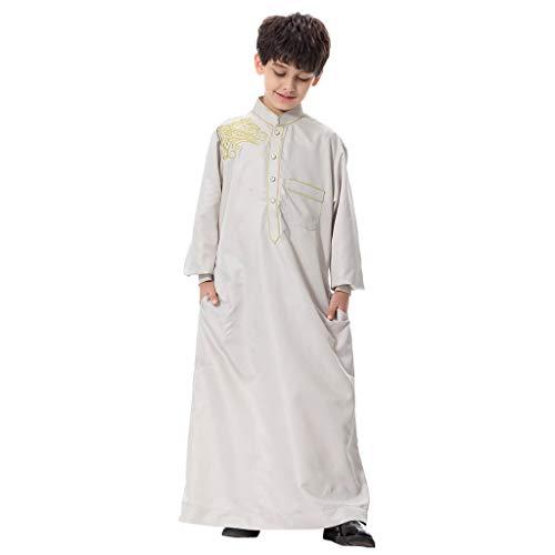 Amphia - Mans Langärmelige solide Saudi-arabische islamische muslimische Dubai-Robe für Jungen - Jugendlich Jungenroben der moslemischen arabischen nahöstlichen Jugend