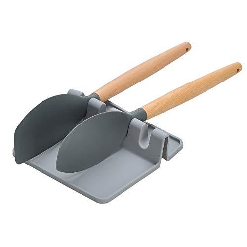 Songway Silicone Kitchen Utensils Rest,Spoon Rest,Giant Spoon Spatula Ladle Fork Holder,Non Slip Heat Resistant Cooking Tools Utensils Rack Flatware Rest Kitchen Utensils Mat (Grey, S)