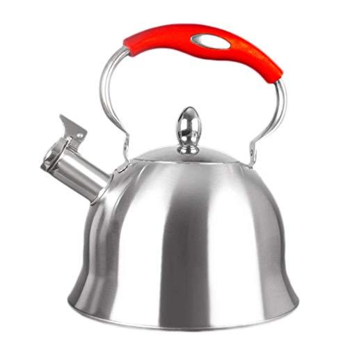 CJK Kochtöpfe, pfeifender Wasserkocher für Induktionskochfeld, Edelstahl 4L Campingkocher Herd Pfeifen Wasser Gas Teekanne Kochen Werkzeuge Küche (Farbe : Rot, größe : 4L)