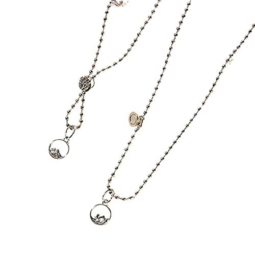 Fiauli 1 par de collar personalizado con forma de Spaceman colgante de cadena ligera y simple, collar con colgante de aleación elegante para parejas, mujeres y hombres, Aleación,