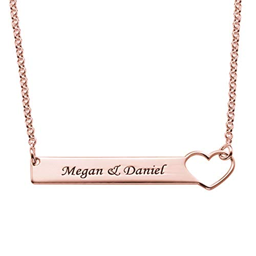 Engraved Name Sterling Silver Pendant Necklace Personalized Creative Woman Necklace Custom Birthday Valentine's Day Anniversary Ideas(Rose gold4-16')
