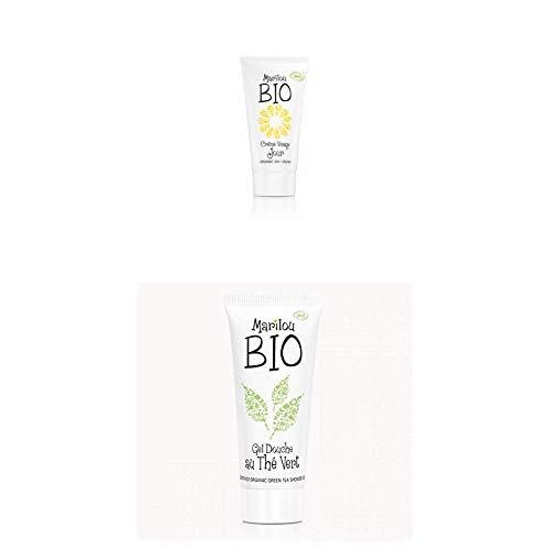 Duo de produit de beauté MARILOU BIO - Gamme Classic - Crème de jour - Gel douche thé vert