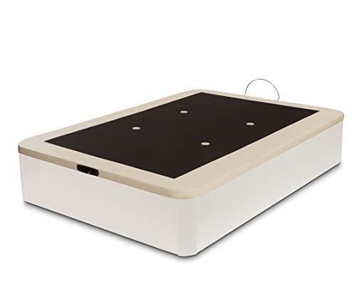 Dormidán - Canapé abatible Gran Capacidad Esquinas Redondeadas macizas, Base tapizada en 3D Transpirable/Polipiel, 4 válvulas de aireación, 150x190cm, Color Blanco